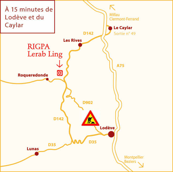 Access map to Lerab Ling
